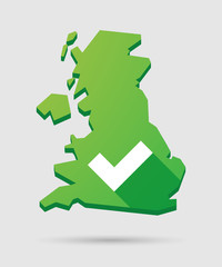 United Kingdom map icon with a check mark