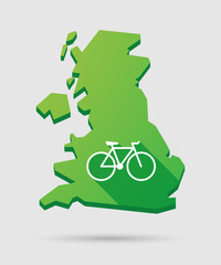 United Kingdom map icon with a bicycle