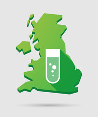 United Kingdom map icon with a chemical test tube