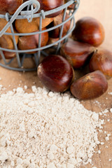 chestnut flour on wooden table