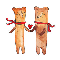 two bears. vector. love