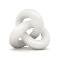 White infinity knot isolated on white background