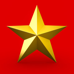 Gold star isolated on red background