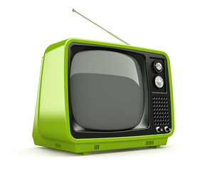 Green retro TV isolated on white background