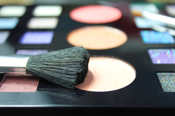 Make up palette and brush