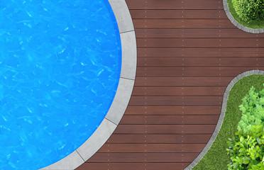 Gartendetail mit Swimming Pool von oben
