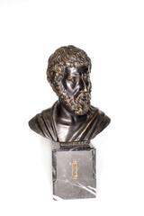 Bust of Roman emperor Marcus Aurelius on a white background