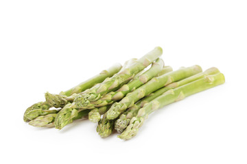 uncooked green asparagus, isolated on white