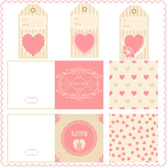 Scrapbook elements Valentines for design vector patterns tags an