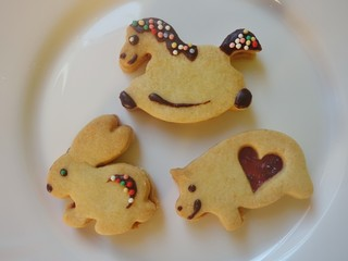 Confectionery cute shortbread horse, pig and rabbit