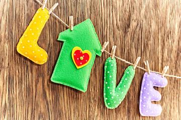 Valentines Day. Word Love, house Handmade. Vintage style