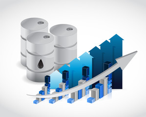 oil barrel business graph illustration