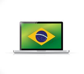 brazil flag computer laptop illustration