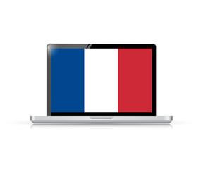 france flag computer laptop illustration