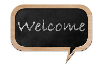 Welcome on a Speech bubble shaped Blackboard