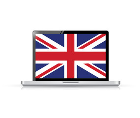 uk flag computer laptop illustration