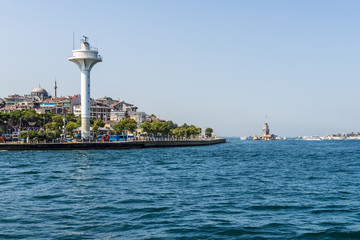 Lighthouse in the sea at the entrance of the Bosphorus