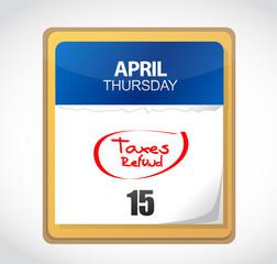 taxes refund calendar illustration design