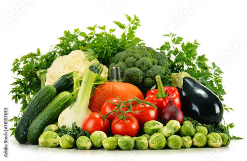 canvas print picture Assorted raw organic vegetables isolated on white