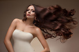 Portrait of Beautiful Woman with Long flying Hair.