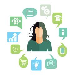 Geschäftsfrau mit Arbeitsaufgaben, Symbole