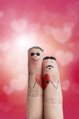Fingers painted featuring a gay couple on Valentines Day