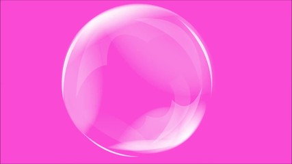 Abstract motion soap bubbles over  pink background.Animation