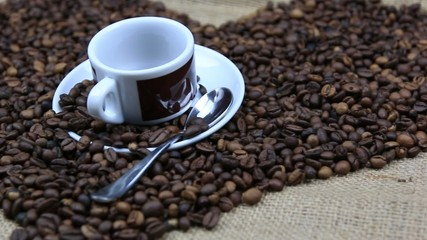Coffee Bean love theme and coffee cup