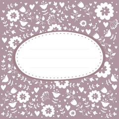 pastel floral wedding pattern card