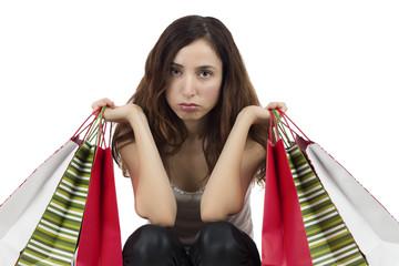 Shopping woman unhappy