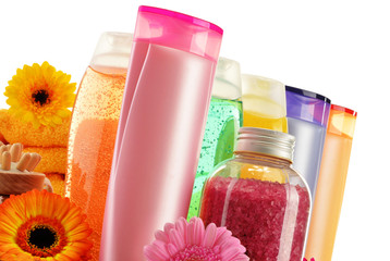 Plastic bottles of body care and beauty products