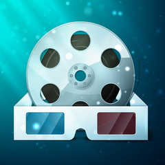 three d glasses and film reel