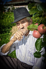 Wrinkled and expressive old farmer