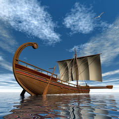 Ancient greek sailboat - 3D render