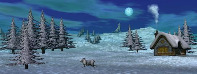 Christmas winter scenic - 3D render
