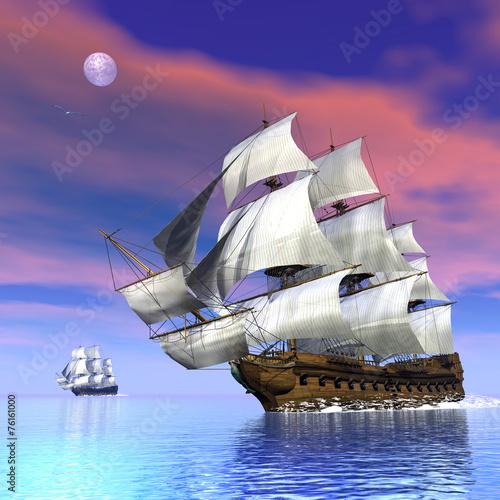 Fototapeta Old merchant ships - 3D render