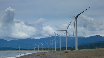 Philippines beach windmills time lapse