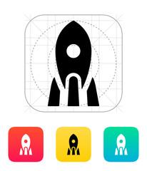 Rocket icon on white background.