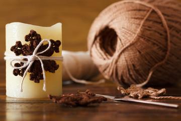 Christmas candle with  brown crochet handmade snowflake