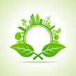 Ecology Concept - eco cityscape with leaf