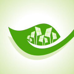 Ecology Concept - Solar panel with leaf stock vector