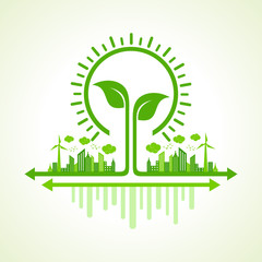 Ecology Concept - eco cityscape with leaf and bulb stock vector