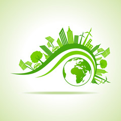 Ecology Concept - eco cityscape with earth stock vector
