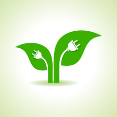 Ecology Concept - Leaf with electric plug stock vector