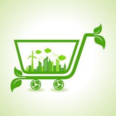 Ecology Concept - eco cityscape with shopping cart stock vector