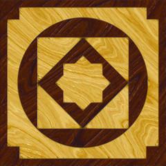 A single, textured wood inlay floor tile design
