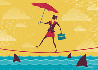 Businesswoman walks Tightrope with Umbrella.