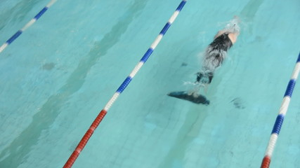 Competitions in the pool. Smooth mono fins
