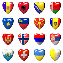 European countries flags wrapped in 3d heart