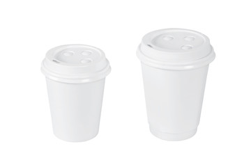 White coffee cups isolated